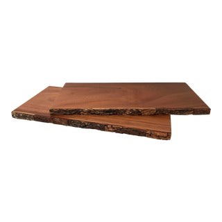 Vintage Live Edge Wooden Shelf Boards- A Pair For Sale