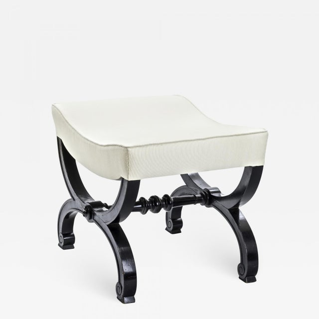 1950s Maison Jansen Refined Black Lacquered Carved Wood Stool For Sale - Image 5 of 5