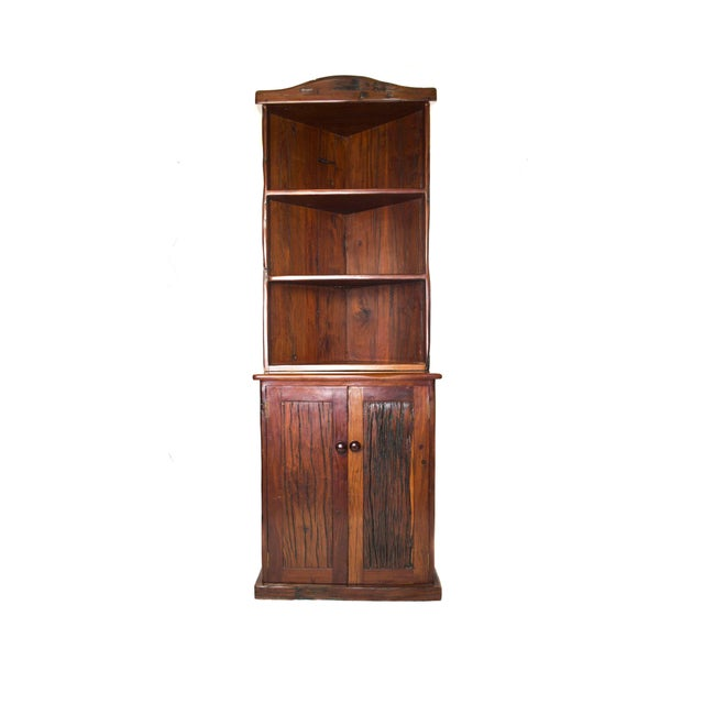 Antique Railroad Hand Carved Red Jarrah Wood Corner Bookcase For Sale - Image 13 of 13