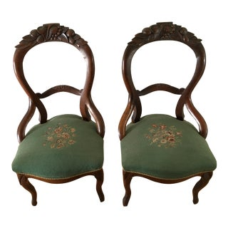 Antique Balloon Back Victorian Louis XV Needlepoint/Petit Point Seat Side Chairs - a Pair