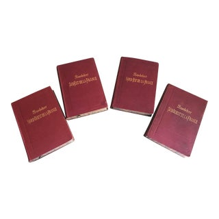 Antique 1894 Baedeker French Travel Guide Books Northwestern, Northeastern, Southeastern, Southwestern France - Set of 4 For Sale