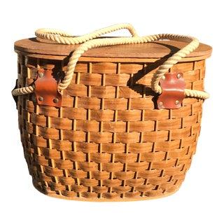 Vintage Picnic Basket With Rope Handles
