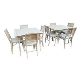 1990s Boho Chic Stakmore Faux Bamboo Dining Set - 10 Pieces For Sale