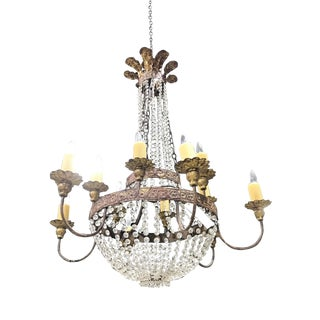Niermann Weeks Iron & Crystal Chandelier For Sale