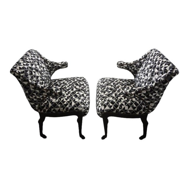 James Mont Inspired Ebonized Chairs With Hoof Feet-A Pair For Sale