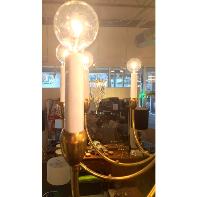 Mid-Century Modern Brass Chandelier in the Manner of Tommi Parzinger - Image 5 of 11