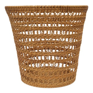 Vintage Wicker Trash Can, 1980s For Sale