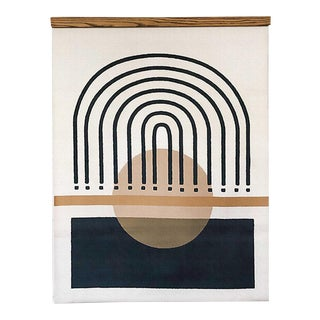 Mid-Century Inspired Miro- Arch Lines Canvas Wall Hanging For Sale