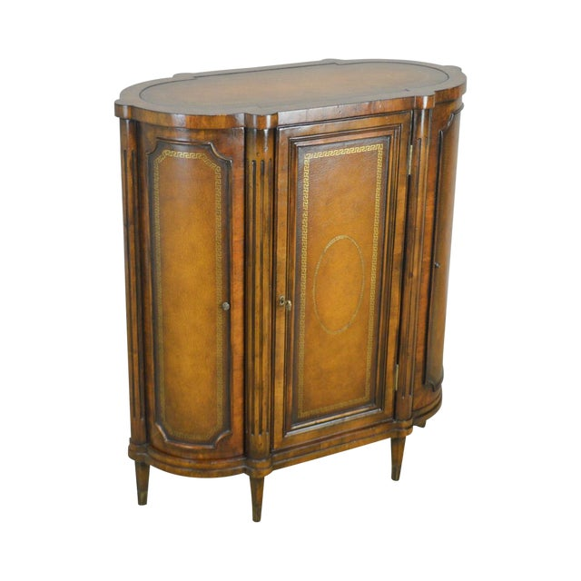 John Richards Regency Style Mahogany Leather Wrapped Console Cabinet For Sale
