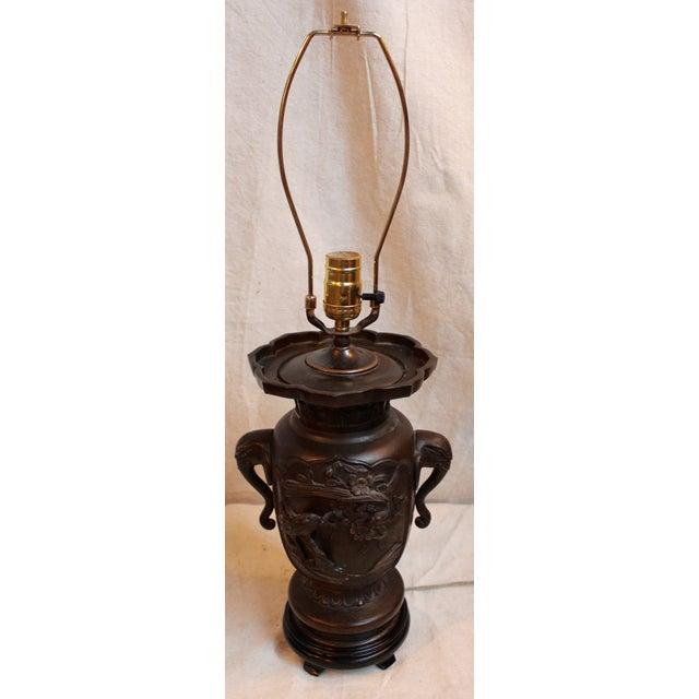 Vintage Japanese Bronze Vase Lamp - Image 2 of 8
