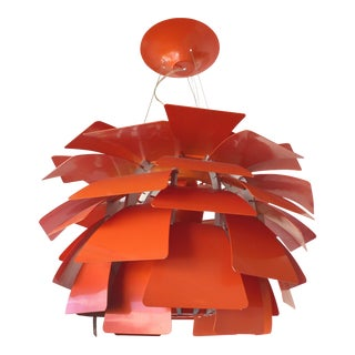 Vintage Reproduction Orange Artichoke Chandelier