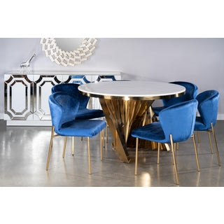 Waterfall Marble Top Gold Dining Furniture-Set of 7 Preview