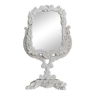1940s Hollywood Regency Tilting Painted Metal Vanity Mirror For Sale