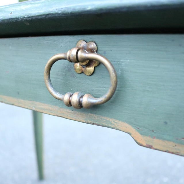 Green Antique French Provincial Leather Top Desk - Image 6 of 11