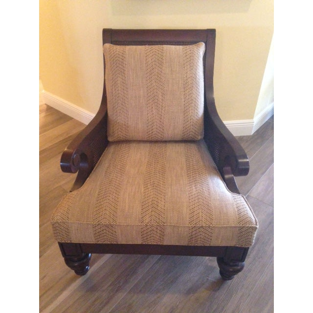 Ethan Allen Rattan & Cherry Wood Accent Chairs - A Pair - Image 5 of 6