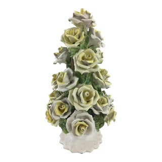 Handmade Capodimonte Style Italian Yellow Rose Topiary For Sale