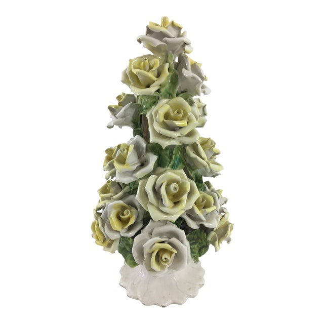 Handmade Capodimonte Style Italian Yellow Rose Topiary For Sale