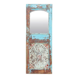 Stunningly Rustic Sunburst Azul Mirror For Sale