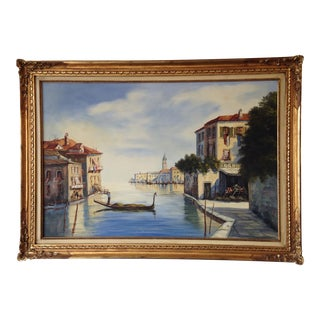 Harbor View of Venice Oil on Canvas by Bouve For Sale