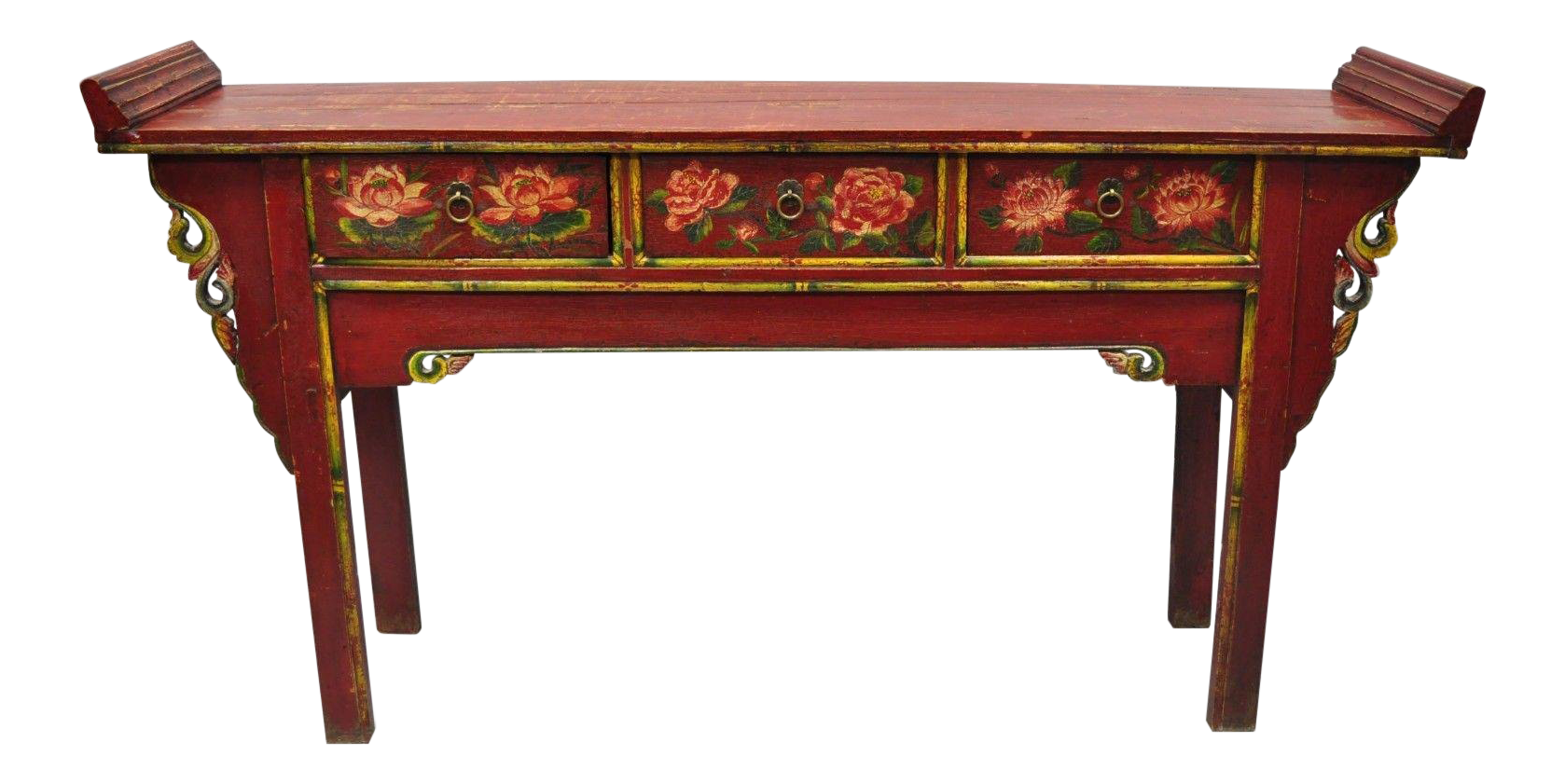 Mid 20th Century Mongolian Red U0026 Green Distress Painted Altar Console Table