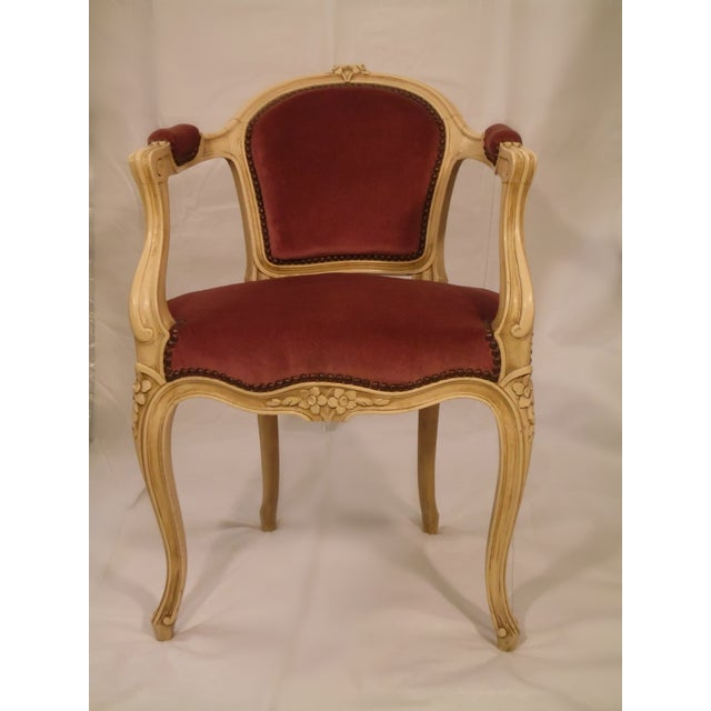 Antique Ivory Louis XV Style Low Back Fauteuil - Image 6 of 7