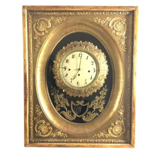 19th Century French Gilt Wall Clock in Shadow Box For Sale