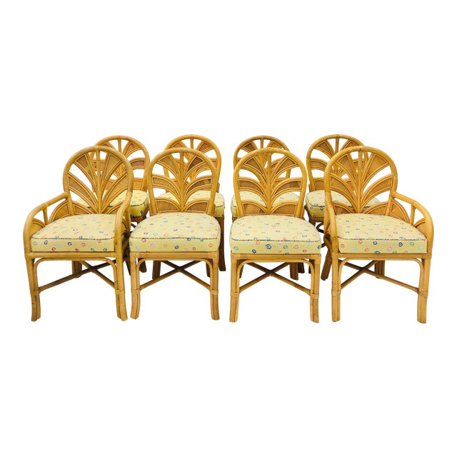 Set of Eight Vintage Bent Rattan Chairs For Sale