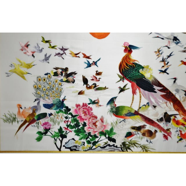 Silk Vintage Framed 100 Birds Adore the Phoenix Chinese Silk Embroidery For Sale - Image 7 of 13