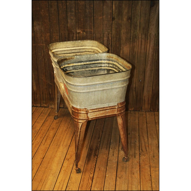 Vintage Wheeling Galvanized Double Wash Tub Stand For Sale - Image 9 of 11
