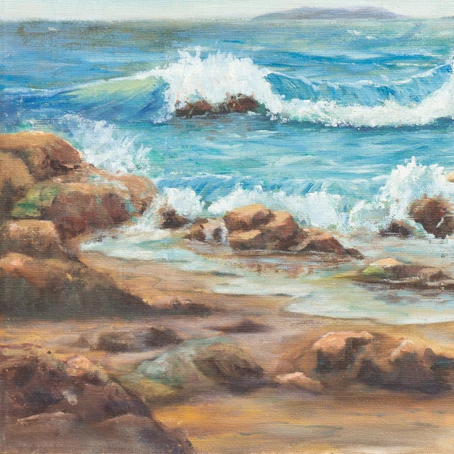A substantial and period mid-century oil showing a view of the coast of Malibu, California looking out over the Pacific...
