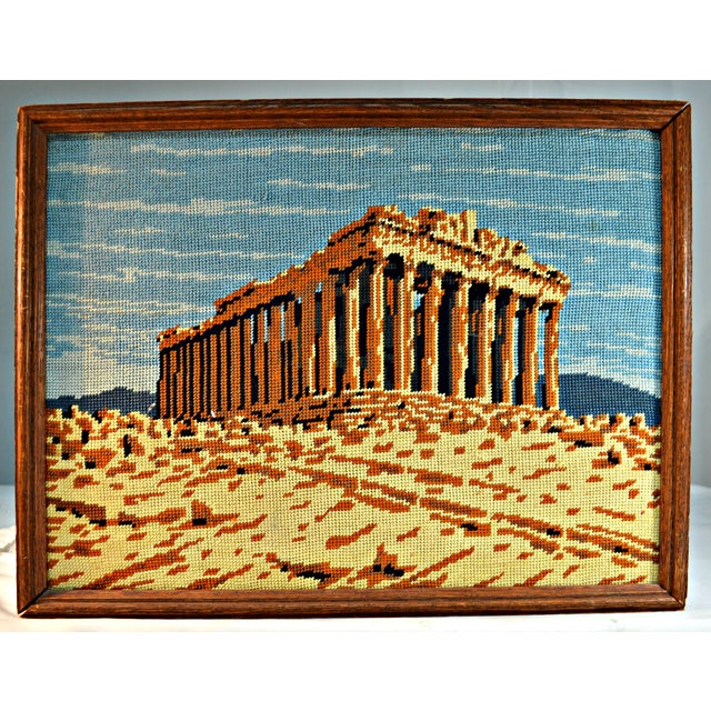 The seller says: Very rare by the theme is this framed needlepoint work, allegorical to Greek Parthenon. Impeccable...