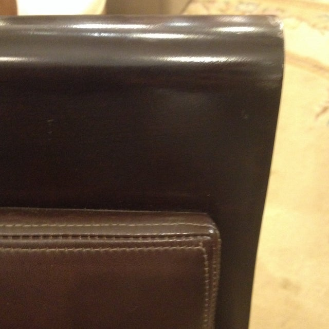 Doug Levin Brown Wood & Leather Side Chair - Image 5 of 7