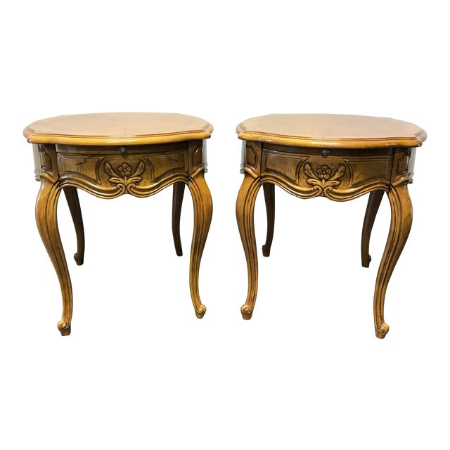 Thomasville French Court Burl Oak Oval End Tables A Pair