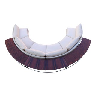 Milo Baughman Semi-Circular Sofa With Rosewood Tables For Sale
