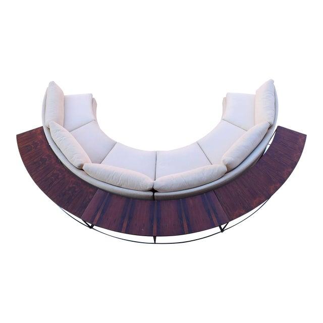 Milo Baughman Semi-Circular Sofa With Rosewood Tables For Sale