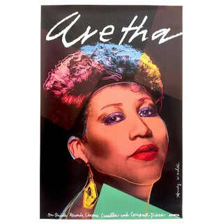 "Andy Warhol Rare Vintage 1986 Lithograph Print Collector's Pop Art Poster "" Aretha "" 1985 For Sale"