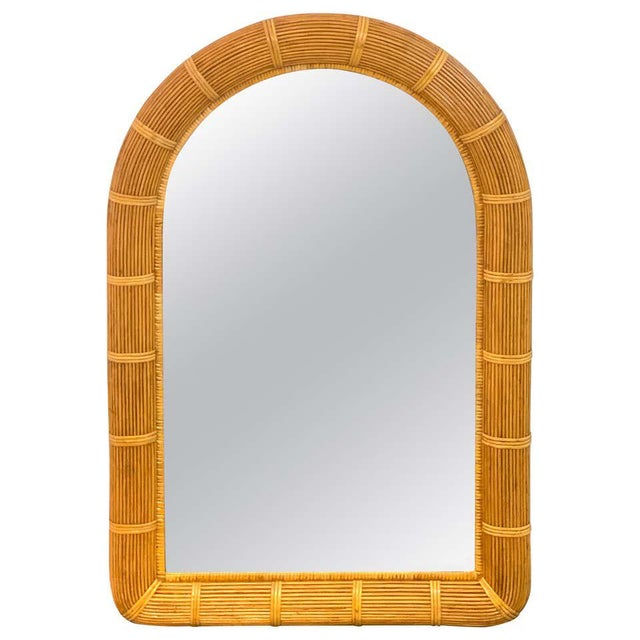 Wood Midcentury Wrapped Pencil Reed Rattan Demilune Mirror For Sale - Image 7 of 7