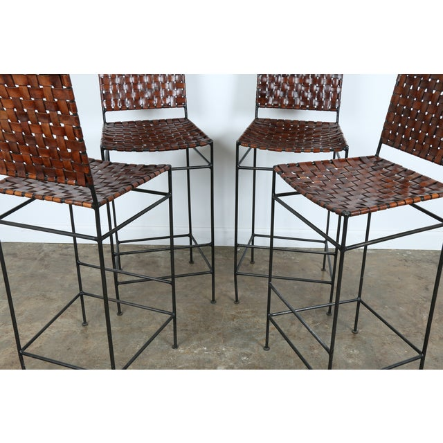 1990s Vintage Leather Bar Stools - Set of 4 - Image 6 of 11