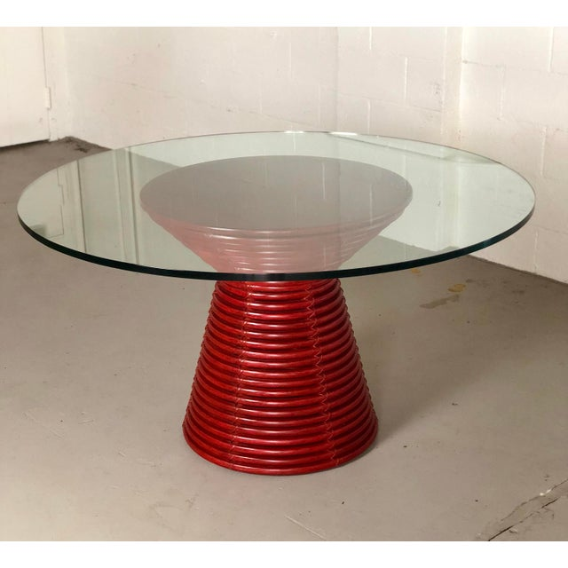 """We are very pleased to offer an organic, sculptural table by McGuire. This beautiful graphic table features a round ¾""""..."""