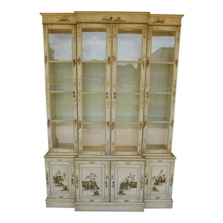 "Union National Chinoiserie Decorated Lighted China Cabinet 52.75""w For Sale"