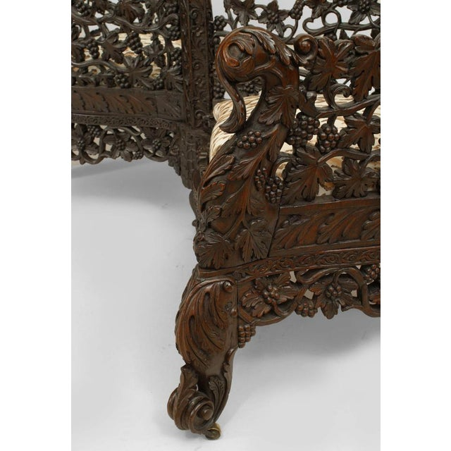 Asian Burmese style (19th Cent) carved and filigree rosewood tete a tete