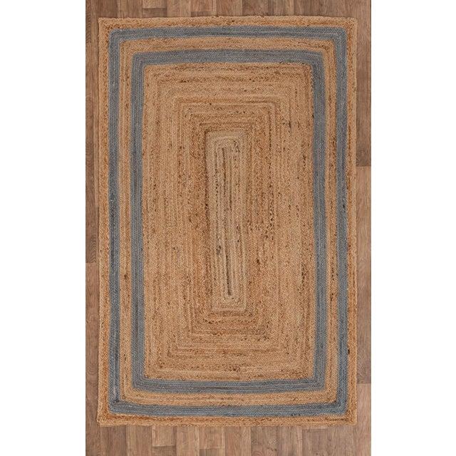 2'x3' Grey Border Rectangle Jute Handmade Rug For Sale - Image 9 of 11
