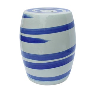 Blue & White Spin Brushstroke Porcelain Garden Stool For Sale