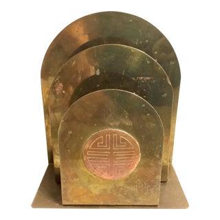 James Mont Style Copper & Brass Desk Organizer