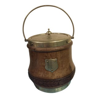 Oak & Brass English Biscuit Barrel For Sale