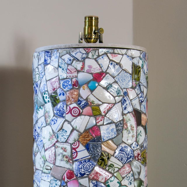 Tall charming mosaic lamp hand-made in France from pieces of vintage and antique china (circa 1940). This table lamp is...