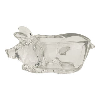 Vintage Crystal Pig Candy Bowl For Sale