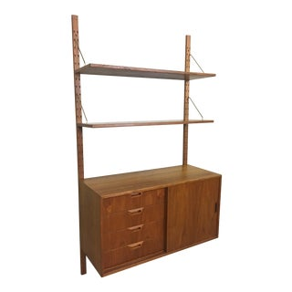 Teak Wall-Mounted Cabinet and Shelving in Style of Poul Cadovius