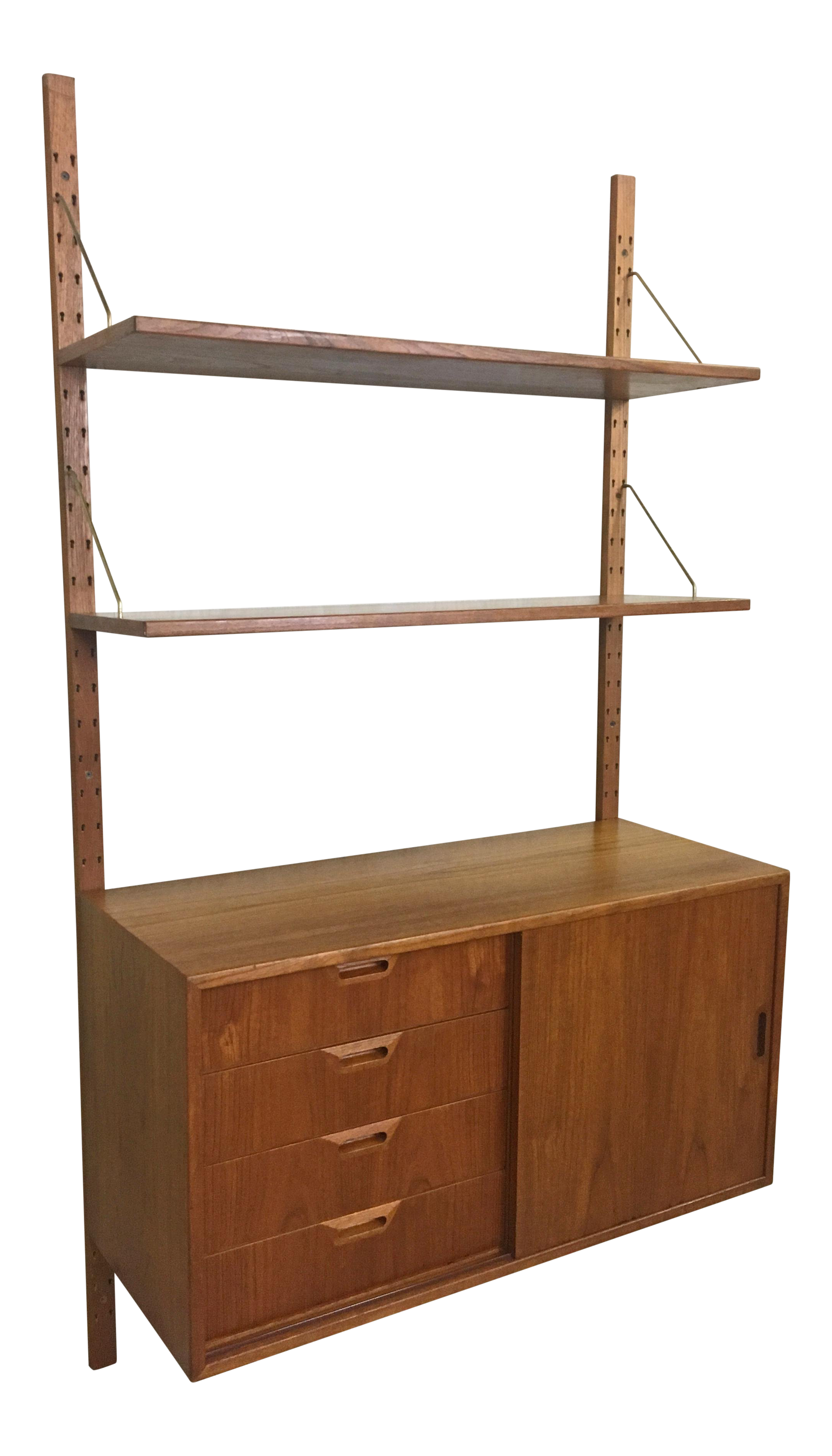 Teak Wall Mounted Cabinet And Shelving In Style Of Poul Cadovius