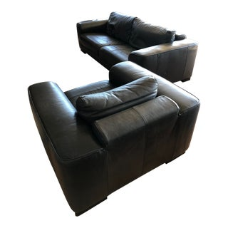 Maurice Villency Buen Retiro Leather Sofa/Chair Set For Sale